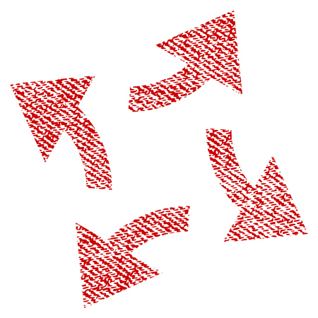 Centrifugal Arrows raster textured icon for overlay watermark stamps. Red fabric rasterized texture. Symbol with scratched design. Red ink rubber seal stamp with fiber textile structure.