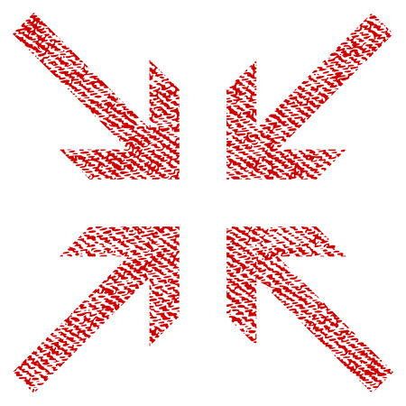 koncentrovaný: Collide Arrows raster textured icon for overlay watermark stamps. Red fabric rasterized texture. Symbol with dust design. Red ink rubber seal stamp with fiber textile structure.
