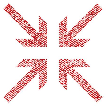 derrumbe: Icono de textura ráster de flechas colisionadas para sellos de marca de agua de superposición. Textura rasterizada de tela roja. Símbolo con diseño de polvo. Sello de goma de tinta roja con estructura textil de fibra.