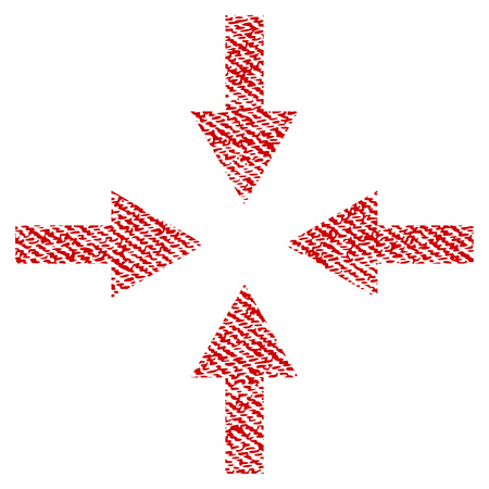 Compress Arrows raster textured icon for overlay watermark stamps. Red fabric rasterized texture. Symbol with scratched design. Red ink rubber seal stamp with fiber textile structure.