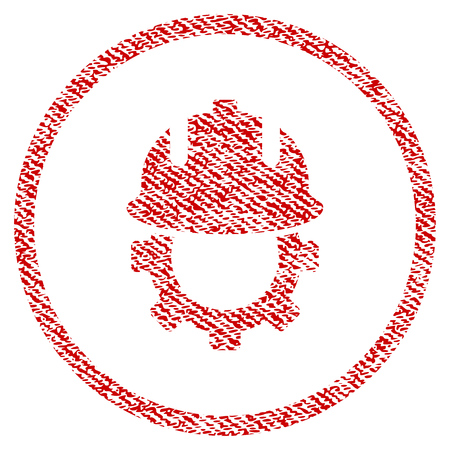 Development Helmet raster textured icon for overlay watermark stamps. Red fabric rasterized texture. Symbol with dust design. Red ink rubber seal stamp with fiber textile structure.