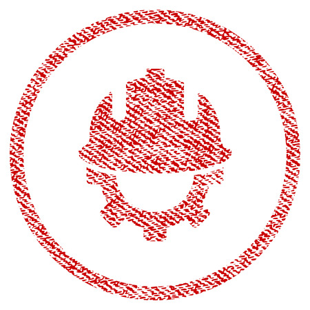 textile industry: Development Helmet raster textured icon for overlay watermark stamps. Red fabric rasterized texture. Symbol with unclean design. Red ink rubber seal stamp with fiber textile structure. Stock Photo