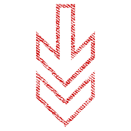 Direction Down raster textured icon for overlay watermark stamps. Red fabric rasterized texture. Symbol with scratched design. Red ink rubber seal stamp with fiber textile structure. Stock Photo