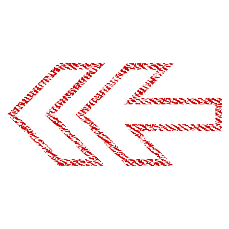 Direction Left raster textured icon for overlay watermark stamps. Red fabric rasterized texture. Symbol with unclean design. Red ink rubber seal stamp with fiber textile structure.