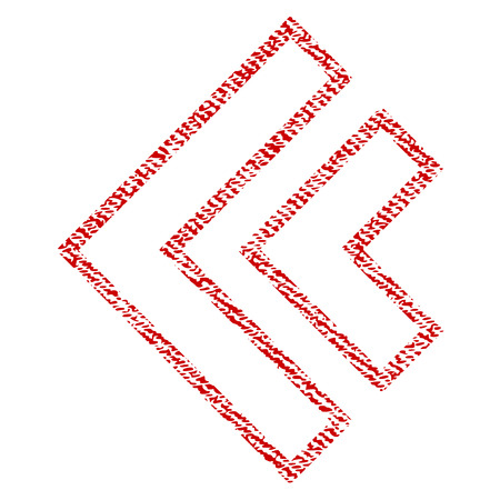 Direction Left raster textured icon for overlay watermark stamps. Red fabric rasterized texture. Symbol with dust design. Red ink rubber seal stamp with fiber textile structure.