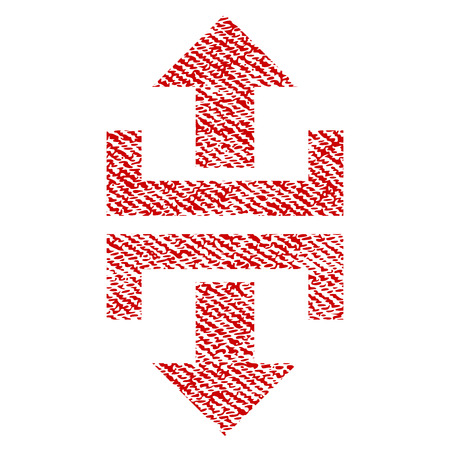 Divide Vertical Direction raster textured icon for overlay watermark stamps. Red fabric rasterized texture. Symbol with unclean design. Red ink rubber seal stamp with fiber textile structure.