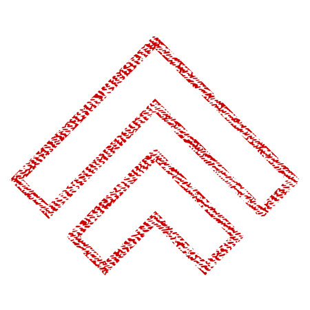 Direction Up raster textured icon for overlay watermark stamps. Red fabric rasterized texture. Symbol with scratched design. Red ink rubber seal stamp with fiber textile structure.