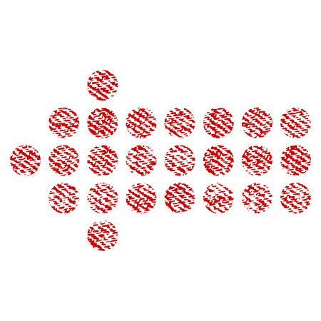 Dotted Arrow Left raster textured icon for overlay watermark stamps. Red fabric rasterized texture. Symbol with dust design. Red ink rubber seal stamp with fiber textile structure.