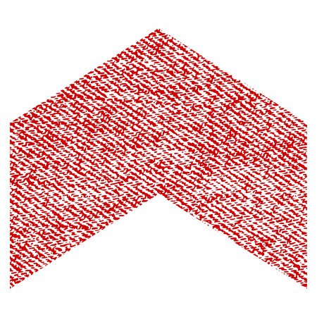 Direction Up raster textured icon for overlay watermark stamps. Red fabric rasterized texture. Symbol with unclean design. Red ink rubber seal stamp with fiber textile structure.