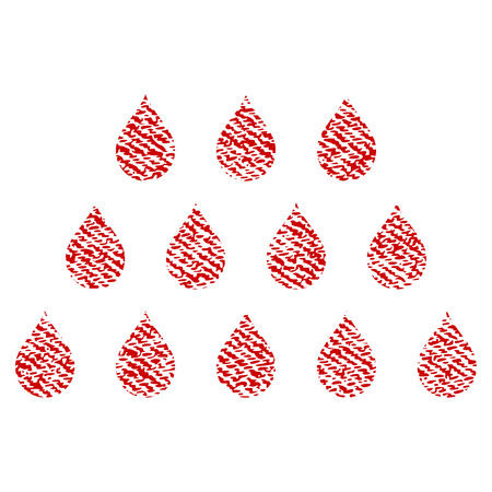 Drops raster textured icon for overlay watermark stamps. Red fabric rasterized texture. Symbol with unclean design. Red ink rubber seal stamp with fiber textile structure.