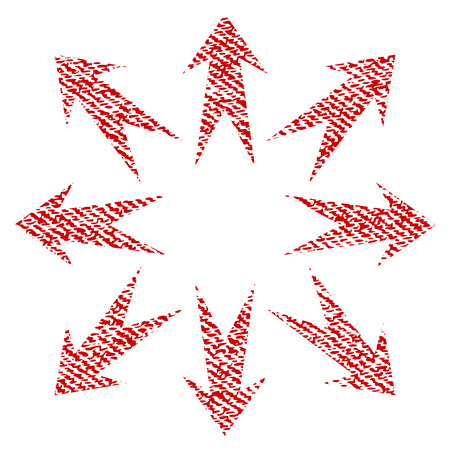 Expand Arrows raster textured icon for overlay watermark stamps. Red fabric rasterized texture. Symbol with dust design. Red ink rubber seal stamp with fiber textile structure.