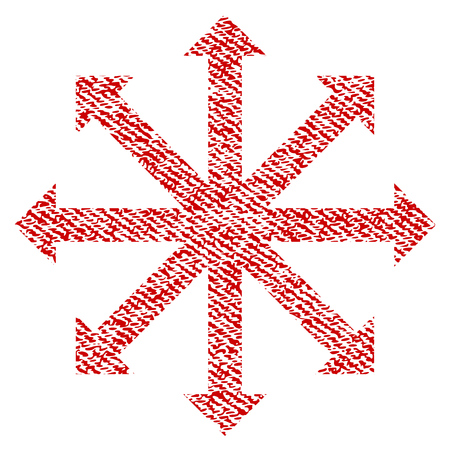 Expand Arrows raster textured icon for overlay watermark stamps. Red fabric rasterized texture. Symbol with unclean design. Red ink rubber seal stamp with fiber textile structure.
