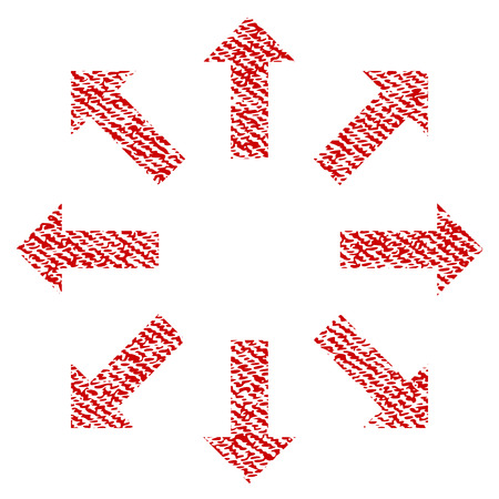 Explode Arrows raster textured icon for overlay watermark stamps. Red fabric rasterized texture. Symbol with unclean design. Red ink rubber seal stamp with fiber textile structure.