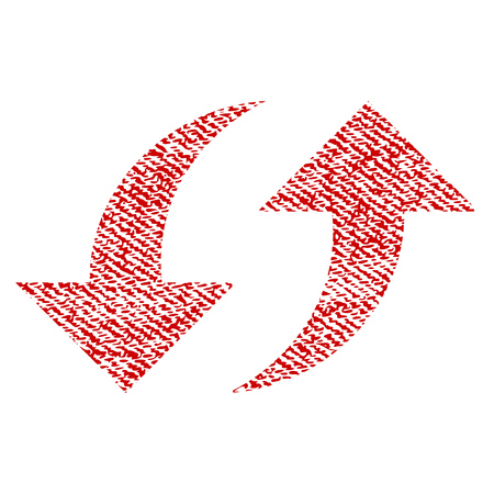 Exchange Arrows raster textured icon for overlay watermark stamps. Red fabric rasterized texture. Symbol with unclean design. Red ink rubber seal stamp with fiber textile structure.