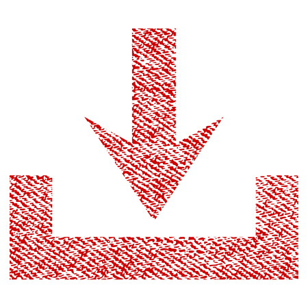 Downloads raster textured icon for overlay watermark stamps. Red fabric rasterized texture. Symbol with dust design. Red ink rubber seal stamp with fiber textile structure. Stock Photo