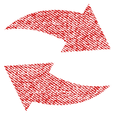 Exchange Arrows raster textured icon for overlay watermark stamps. Red fabric rasterized texture. Symbol with scratched design. Red ink rubber seal stamp with fiber textile structure.