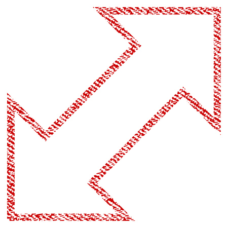 Exchange Diagonal raster textured icon for overlay watermark stamps. Red fabric rasterized texture. Symbol with dust design. Red ink rubber seal stamp with fiber textile structure.