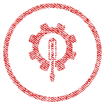Engineering raster textured icon for overlay watermark stamps. Red fabric rasterized texture. Symbol with scratched design. Red ink rubber seal stamp with fiber textile structure.