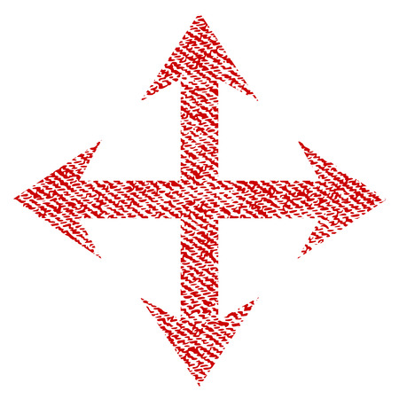 Expand Arrows raster textured icon for overlay watermark stamps. Red fabric rasterized texture. Symbol with dirty design. Red ink rubber seal stamp with fiber textile structure. Stock Photo