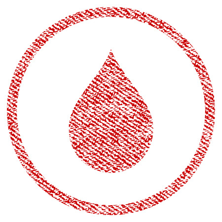 Drop raster textured icon for overlay watermark stamps. Red fabric rasterized texture. Symbol with scratched design. Red ink rubber seal stamp with fiber textile structure.