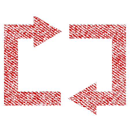 Exchange Arrows raster textured icon for overlay watermark stamps. Red fabric rasterized texture. Symbol with dust design. Red ink rubber seal stamp with fiber textile structure.