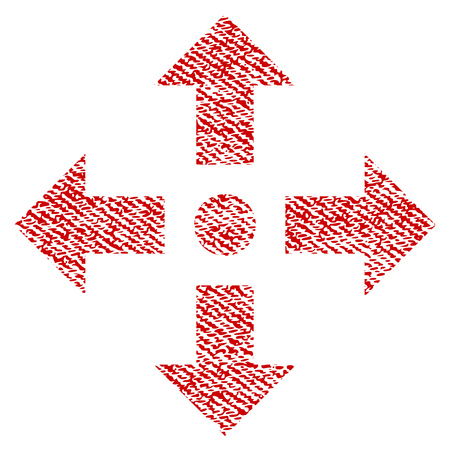 Expand Arrows raster textured icon for overlay watermark stamps. Red fabric rasterized texture. Symbol with scratched design. Red ink rubber seal stamp with fiber textile structure.