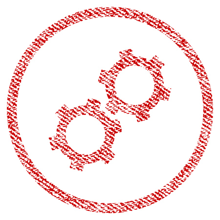 Gears raster textured icon for overlay watermark stamps. Red fabric rasterized texture. Symbol with unclean design. Red ink rubber seal stamp with fiber textile structure. Stock Photo