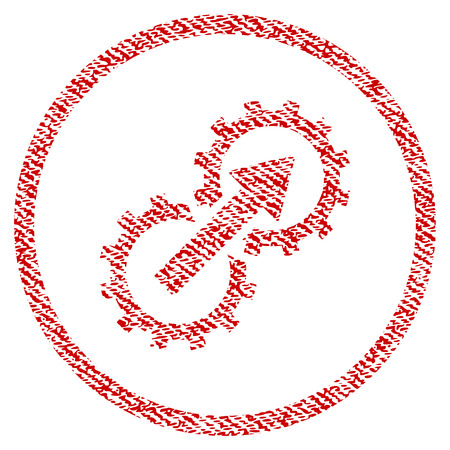 Gear Integration raster textured icon for overlay watermark stamps. Red fabric rasterized texture. Symbol with dirty design. Red ink rubber seal stamp with fiber textile structure.