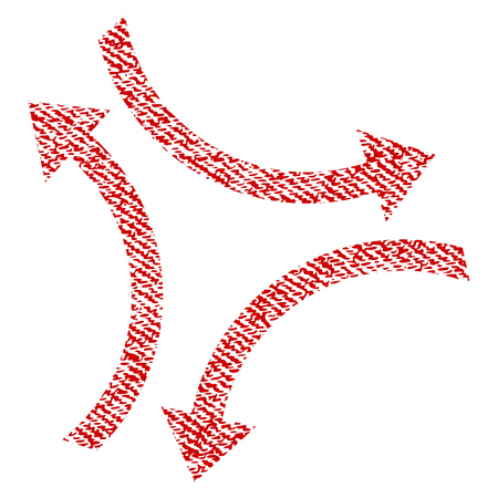 synchronize: Exchange Arrows raster textured icon for overlay watermark stamps. Red fabric rasterized texture. Symbol with unclean design. Red ink rubber seal stamp with fiber textile structure.