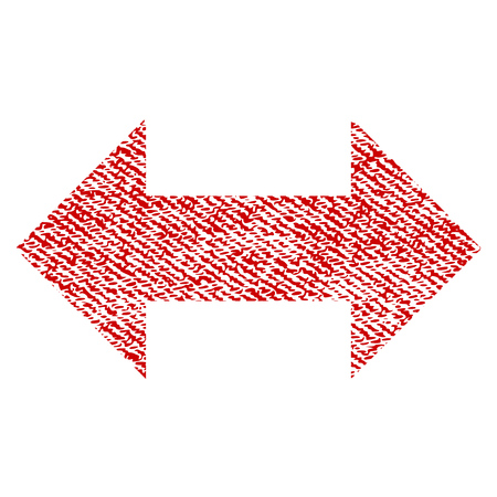 Horizontal Exchange Arrows raster textured icon for overlay watermark stamps. Red fabric rasterized texture. Symbol with unclean design. Red ink rubber seal stamp with fiber textile structure.