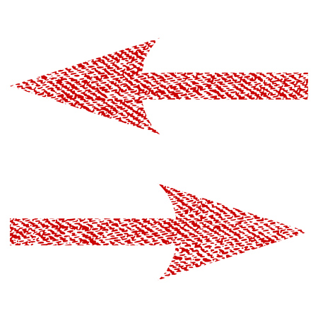 Horizontal Exchange Arrows raster textured icon for overlay watermark stamps. Red fabric rasterized texture. Symbol with dust design. Red ink rubber seal stamp with fiber textile structure.