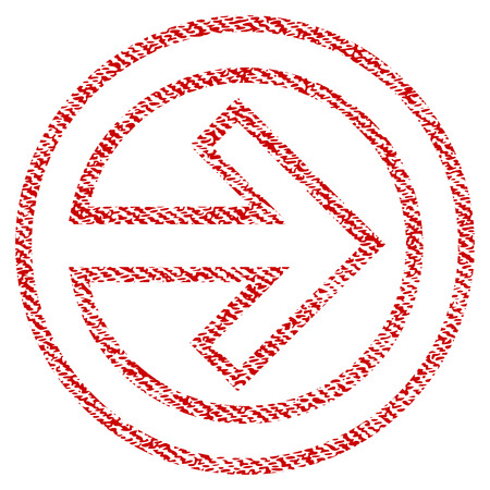 Import raster textured icon for overlay watermark stamps. Red fabric rasterized texture. Symbol with dust design. Red ink rubber seal stamp with fiber textile structure.