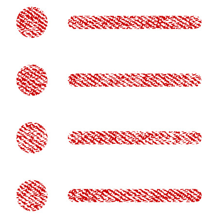 Items raster textured icon for overlay watermark stamps. Red fabric rasterized texture. Symbol with scratched design. Red ink rubber seal stamp with fiber textile structure.