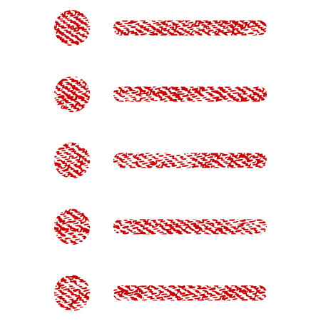 Items raster textured icon for overlay watermark stamps. Red fabric rasterized texture. Symbol with unclean design. Red ink rubber seal stamp with fiber textile structure.