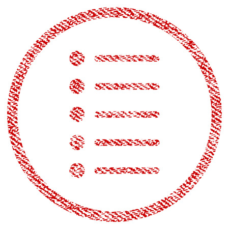 Items raster textured icon for overlay watermark stamps. Red fabric rasterized texture. Symbol with dust design. Red ink rubber seal stamp with fiber textile structure.