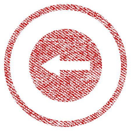 Left Rounded Arrow raster textured icon for overlay watermark stamps. Red fabric rasterized texture. Symbol with scratched design. Red ink rubber seal stamp with fiber textile structure.