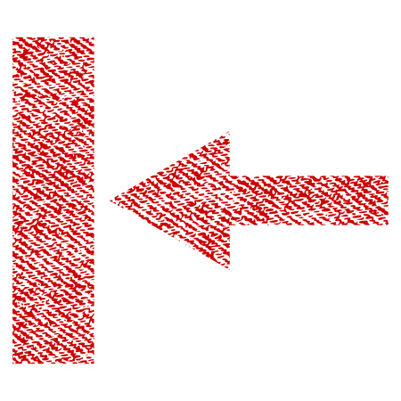Move Left raster textured icon for overlay watermark stamps. Red fabric rasterized texture. Symbol with unclean design. Red ink rubber seal stamp with fiber textile structure.