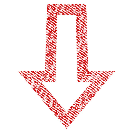 Arrow Down vector textured icon for overlay watermark stamps. Red fabric vectorized texture. Symbol with dust design. Red ink rubber seal stamp with fiber textile structure.