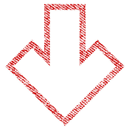 Arrow Down vector textured icon for overlay watermark stamps. Red fabric vectorized texture. Symbol with dirty design. Red ink rubber seal stamp with fiber textile structure.