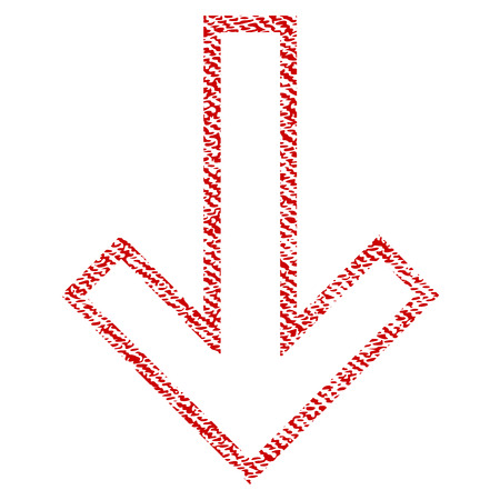 Arrow Down vector textured icon for overlay watermark stamps. Red fabric vectorized texture. Symbol with scratched design. Red ink rubber seal stamp with fiber textile structure.