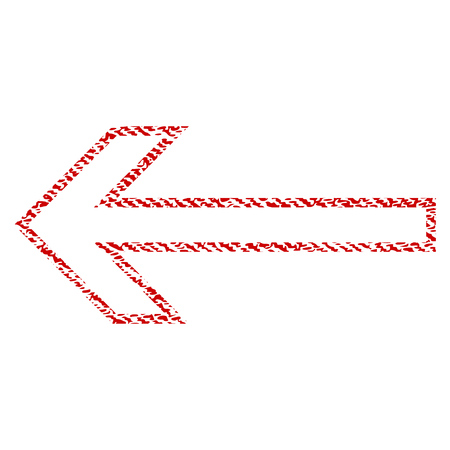 aim: Arrow Left vector textured icon for overlay watermark stamps. Red fabric vectorized texture. Symbol with scratched design. Red ink rubber seal stamp with fiber textile structure.