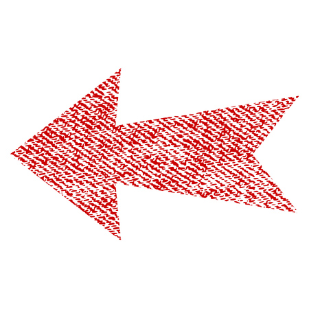 before: Arrow Left vector textured icon for overlay watermark stamps. Red fabric vectorized texture. Symbol with dust design. Red ink rubber seal stamp with fiber textile structure.