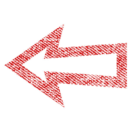 Arrow Left vector textured icon for overlay watermark stamps. Red fabric vectorized texture. Symbol with unclean design. Red ink rubber seal stamp with fiber textile structure. Illustration