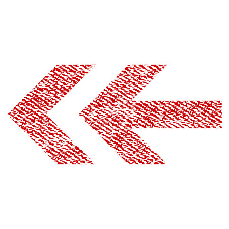Arrow Left vector textured icon for overlay watermark stamps. Red fabric vectorized texture. Symbol with dust design. Red ink rubber seal stamp with fiber textile structure.