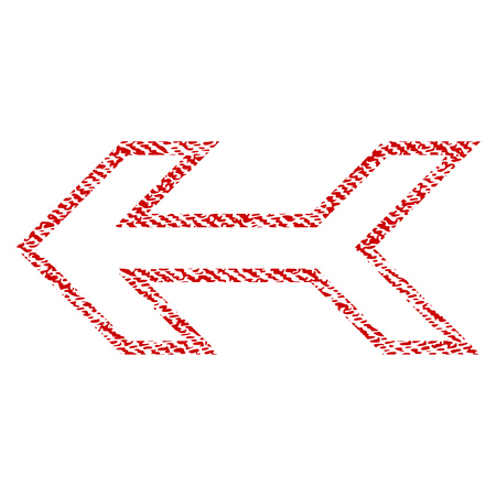 before: Arrow Left vector textured icon for overlay watermark stamps. Red fabric vectorized texture. Symbol with unclean design. Red ink rubber seal stamp with fiber textile structure. Illustration