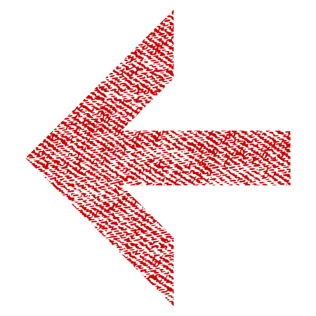 Arrow Left vector textured icon for overlay watermark stamps. Red fabric vectorized texture. Symbol with dirty design. Red ink rubber seal stamp with fiber textile structure.