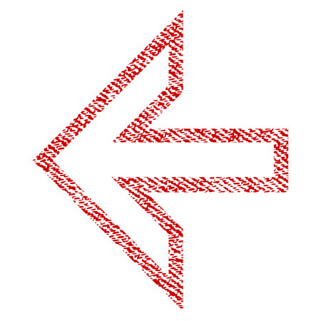 Arrow Left vector textured icon for overlay watermark stamps. Red fabric vectorized texture. Symbol with scratched design. Red ink rubber seal stamp with fiber textile structure.