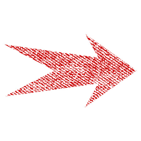 redo: Arrow Right vector textured icon for overlay watermark stamps. Red fabric vectorized texture. Symbol with scratched design. Red ink rubber seal stamp with fiber textile structure.