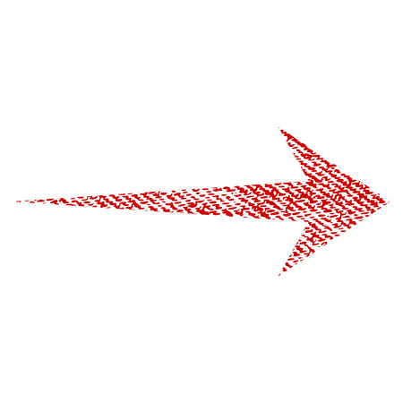 Arrow Right vector textured icon for overlay watermark stamps. Red fabric vectorized texture. Symbol with scratched design. Red ink rubber seal stamp with fiber textile structure.