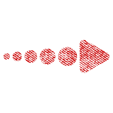 Arrow Right vector textured icon for overlay watermark stamps. Red fabric vectorized texture. Symbol with unclean design. Red ink rubber seal stamp with fiber textile structure.